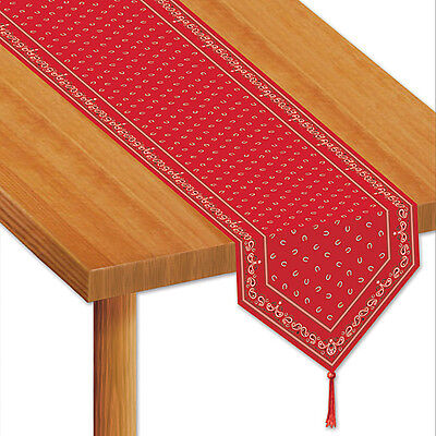 Bandana Table Runner.which features a red paisley and horseshoe design - Red Bandana Balloons