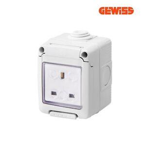 Gewiss Waterproof Socket Enclosure 1 Gang 13A 2P+E IP55 Grey Gewiss GW27843