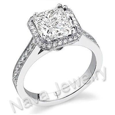 2.66 Ct Princess Cut Diamond Engagement Bridal Ring GIA