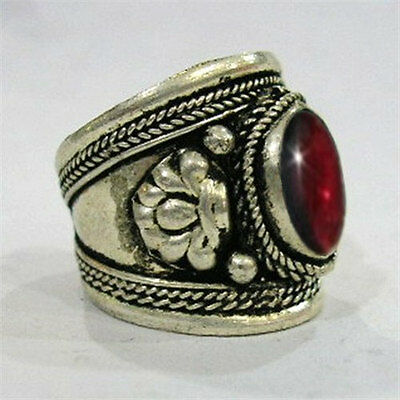 Large Adjustable Tibetan Big Round Garnet Gemstone Dorje Weaving Amulet Ring