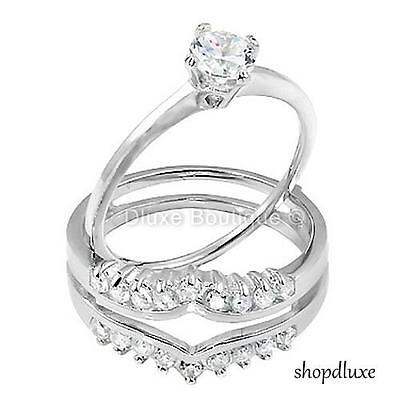 1.50 CT ROUND CUT AAA CZ .925 STERLING SILVER WEDDING RING SET WOMEN'S SIZE 5-10 2