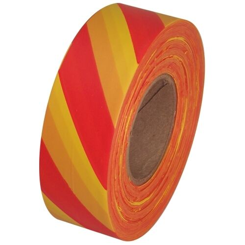 """Red and Yellow Safety Striped Flagging Tape 1 3/16"""" x 300 ft Roll Non-Adhesive"""