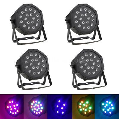 4Pcs DJ/Disco Par Light 18 LED RGB DMX-512 Stage Lighting Party Xmas Club Show