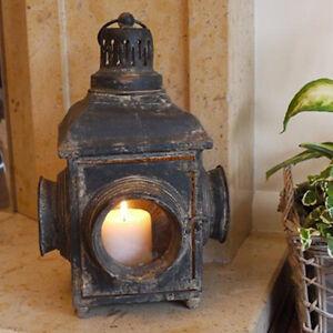 Antique French Vintage Railway Lantern Candle Holder Rustic Garden IndoorOutd