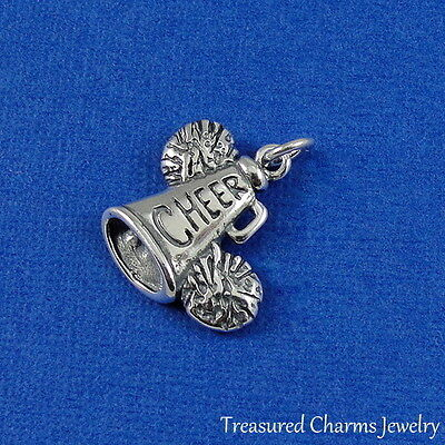 .925 Sterling Silver Cheerleader CHEER MEGAPHONE and POM POMS CHARM -