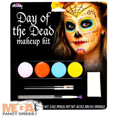 Day of the Dead Make Up Kit Adults Fancy Dress Halloween Face Paint Costume Acc