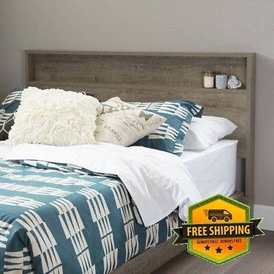 Rustic Wood Headboard With Storage Shelf For Queen or Full Size Bed Frame ()