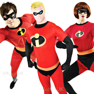 The Incredibles Adult Fancy Dress Superheroes Film Character Mens Ladies - The Incredibles Characters Costumes
