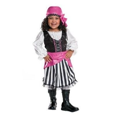 Toddler girls 12-18 month PIRATE Halloween costume black white & pink  - 18 Month Pirate Costume
