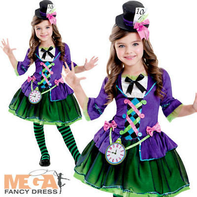 Mad Hatter Girls Fancy Dress Fairy Tale World Book Day Childrens Kids Costume - Girl Mad Hatter Costume
