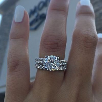 Certified 3.00Ct White Round Diamond Engagement Wedding Ring Set 14k White Gold