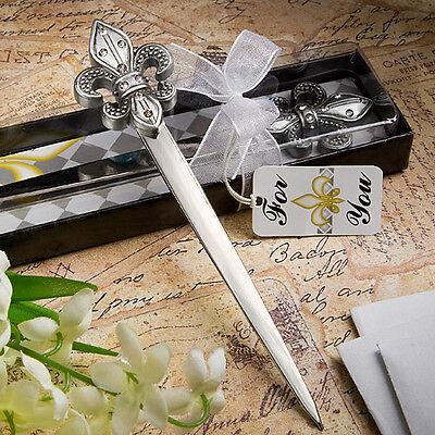 """Gift Boxed Pewter Rhinestone Fleur De Lis Letter Opener- 5.5"""""""