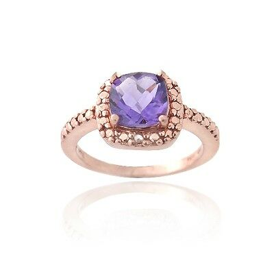 18K Rose Gold over 925 Silver Amethyst & Diamond Accent Ring Size 7