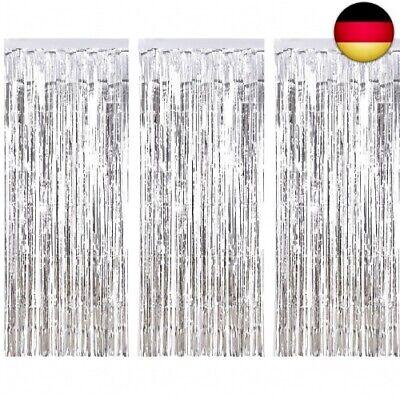 3 Packung Metallic Tinsel Vorhänge, Folie Fringe Shimmer Vorhang Tür (Silber)