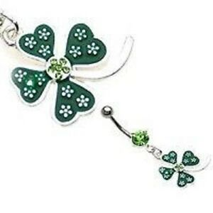14g-7-16-Four-Leaf-Clover-Belly-Ring-Dangle-Navel-Irish