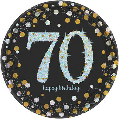 SPARKLING CELEBRATION 70th Birthday SMALL PAPER PLATES (8) ~ Party Supplies Cake - 70 Birthday Supplies