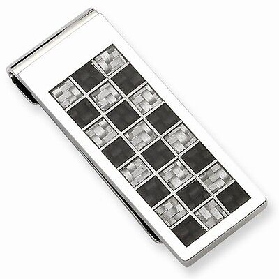 STAINLESS STEEL POLISHED BLACK & GREY CARBON FIBER CHECKERBOARD STYLE MONEY CLIP