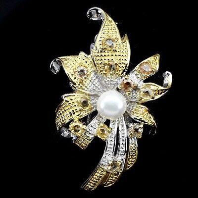 Brosche Blüte Perle Saphir gelb 925 Silber 585 Gelbgold Weißgold
