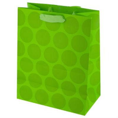 Lime Green Polka Dot Medium Gift Bags - 3 Pack - Lime Green Gift Bags