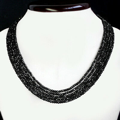 FLAWLESS 177.00 CTS NATURAL 5 LINE EARTH MINED BLACK SPINEL NECKLACE - GEM EDH