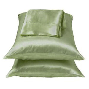 2-Pieces-of-350TC-Solid-Sage-Green-Soft-Silk-y-Satin-Pillow-Cases-King-Size