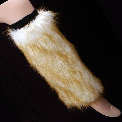 Fluffy Faux Fur Boot Toppers ~ White w/ Brown Tips Furry Leg Wrmers - Brown Furry Leg Warmers