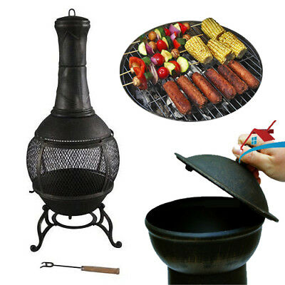 Outdoor Cast Iron Chimenea Garden Fire Stove Patio Cooker Barbeque Chiminea Heat