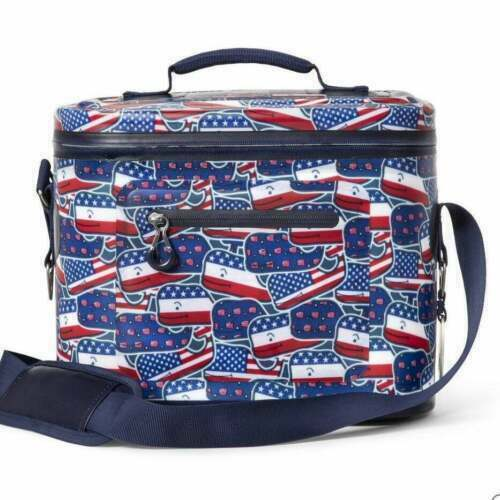 NEW Vineyard Vines – Patriotic Whaley USA  12 Can Cooler Red/Whale/Blue Home & Garden