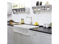 Fireclay fluted kitchen sink 830 x 460. Reversible, plain panel to front. Unused
