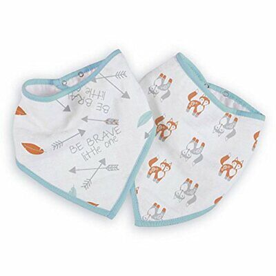 Aden Anais 2 Pack Bandana Bib ~ Brave Little Ones ~ Three Layer Cotton Muslin ~
