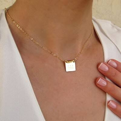 14k Gold Fill Necklace - Square necklace in 14K Gold Filled - Engraved Pendant - Minimalist Necklace