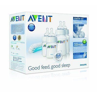 Philips Avent Newborn Baby Bottle Kit - Bottles, Brush, Soot