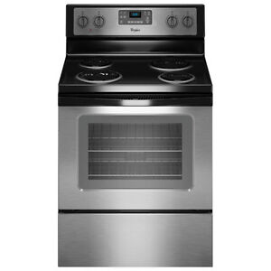 """Whirlpool 30"""" Self-Clean Coil Top Electric Range Stainless Steel"""