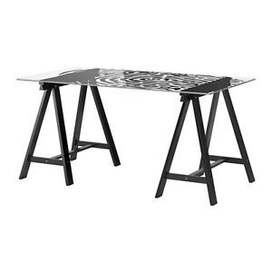 Great Glass Desk with Wood Trestle Legs
