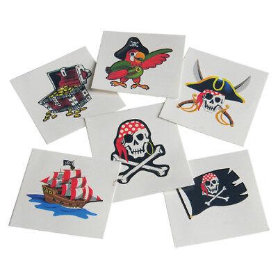 12 Pirate Skull Map Ship Temporary Tattoos Kid Birthday Party Goody Bag Favor