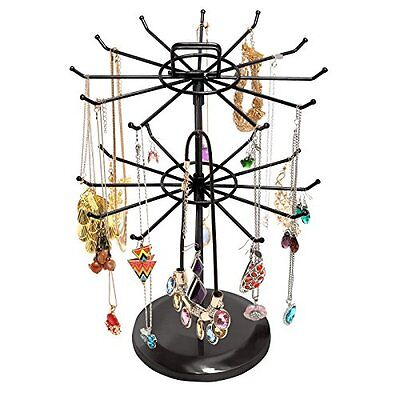 MyGift Black Metal Jewelry Organizer Tower Necklace Tree Bra
