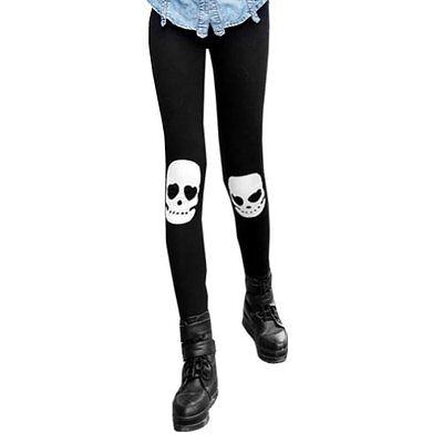 Women's Girl's Skull Skeleton Print Leggings Stretch Tight Pants Black