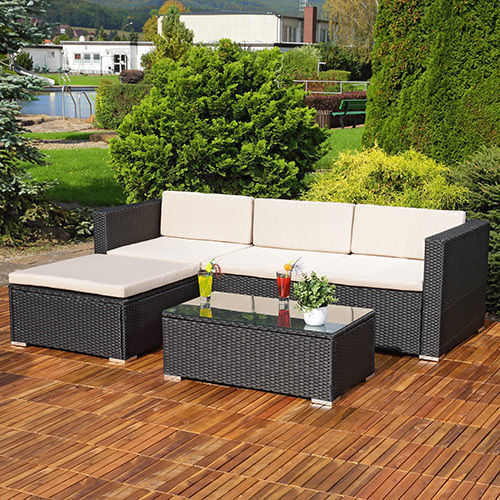 Garden Furniture - RATTAN GARDEN FURNITURE SET CORNER SOFA LOUNGER TABLE OUTDOOR PATIO CONSERVATORY