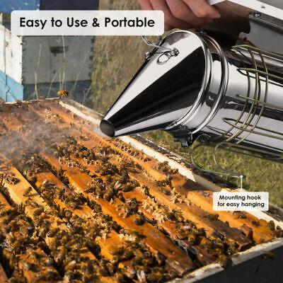 11 Bee Hive Smoker Stainless Steel W Heat Shield Calming Beekeeping Equipment