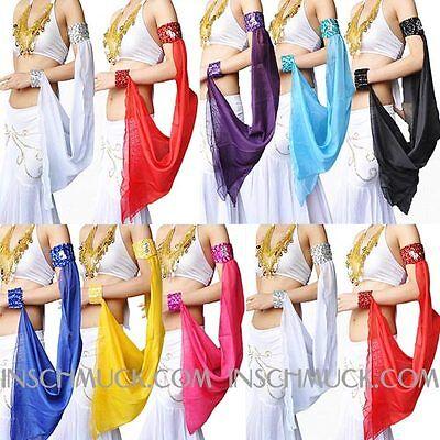 C11 Bauchtanz Kostüm ein Stück Arm Schleier Armband Belly Dance 15 Farbe