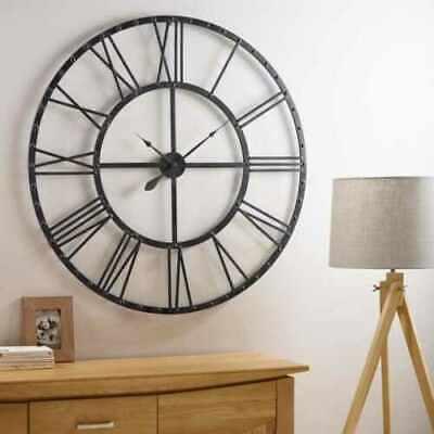 Large Roman Numeral Wall Clock Indoor Outdoor Garden Metal 60CM Round Face Black