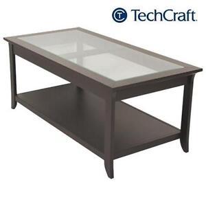 NEW TECHCRAFT DARK BROWN DARK BROWN - COFFEE TABLE - GLASS TOP 105740226