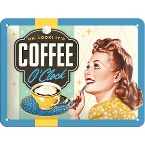 Targa-in-Latta-Vintage-Coffee-O-039-Clock-decorato-15-x-20