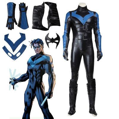 Arkham City Batman Kostüm (Batman Arkham City Nightwing Robin Costume Cosplay Men Fancy Dress Jumpsuit Suit)