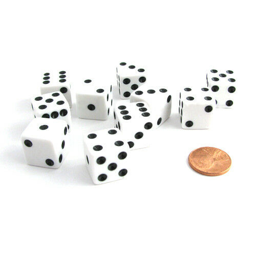 Set of 10 Six Sided Square Opaque 16mm D6 Dice - White with Black Pip Die