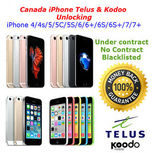 Telus and Koodo iPhone Unlocking  5/5c/5s/6/6s/7/7 for $90