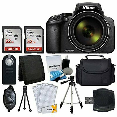 Nikon COOLPIX P900 16MP Digital Camera (Black) + 64GB Complete Accessory Bundle