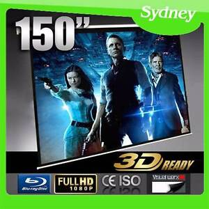 "Motorised TV Cinema HD Projector Screen 150"" + Remote Control NSW Matraville Eastern Suburbs Preview"