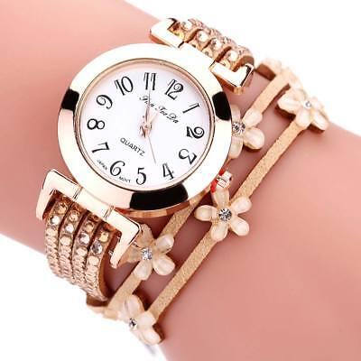 $2.24 - Luxury Women Ladies Quartz Analog Bracelet Party Rhinestone Leather Wrist Watch