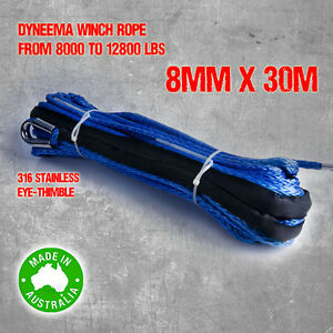 Dyneema-SK75-Synthetic-Winch-Rope-Cable-8mm-x-30m-4WD-Boat-Recovery-Offroad